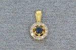 14 Karaat gouden hanger  glijder met Saffier en Diamant