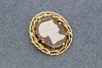 14 Karaat geel gouden vintage Broche gezet met Camee