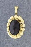 14 karaat geel gouden kettinghanger gezet met Granaat
