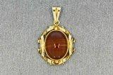 14 karaat gouden antieke kettinghanger gezet met Carneool