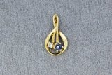 8 Karaat (geel) Kettinghanger gezet met Diamant en Saffier_