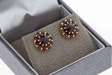8 Karaat (geel) Oorstekers gezet met glas Granaat