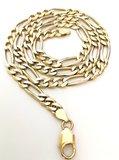14 Karaat bicolor Gouden Figaro Schakelketting - 67,5 cm