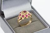 18 karaat gouden Markies ring gezet met Robijn - 17,1 mm