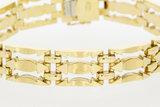 14 karaat brede gouden Staafjes schakelarmband - 19,5 cm