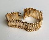 18 Karaat geel gouden Brede schakelarmband - 19 cm