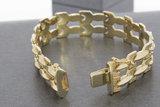 18 karaat brede  geel gouden Staafjes armband - 19 cm