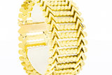 18 karaat geel gouden brede schakelarmband - 20 cm