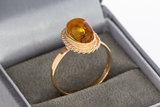 14 Karaat Rose gouden ring gezet met Barnsteen - 19 mm