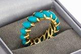 14 Karaat gouden Alliance ring gezet met Turkoois - 15,5 mm