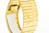 18 karaat brede plaatjes geel gouden armband - 19,5 cm