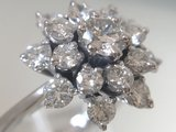 18 K Witgouden Rozet Ring ca 2.0 crt Diamant