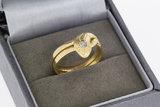 18 Karaat geelgouden Slangenring gezet met Diamant