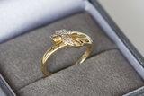 14 Karaat bicolor gouden Slagring met Zirkonia - 16 mm