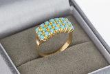 14 Karaat geel gouden Pinkring gezet met Turkoois - 15 mm