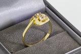 14 Karaat bicolor gouden ring gezet met Zirkonia - 17,4 mm