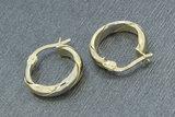 14 Karaat bicolor gouden gewalste Wokkel Creolen
