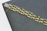 14 karaat brede geel gouden schakelarmband - 21,5 cm