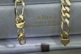 18 Karaat bicolor gouden Figaro schakelketting - 60,5 cm