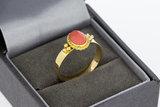 14 Karaat geel gouden Ring gezet met ovale Emaille (18,3)