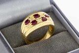 18 Karaat geelgouden Band ring met Robijn en Diamant