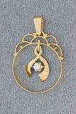 14 Karaat geelgouden kettinghanger gezet met Diamant