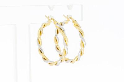 14 Karaat bicolor gouden Koord Creolen (diameter 26,2)