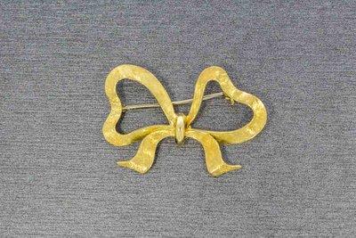 14 Karaat geel gouden gesatineerde Strik Broche