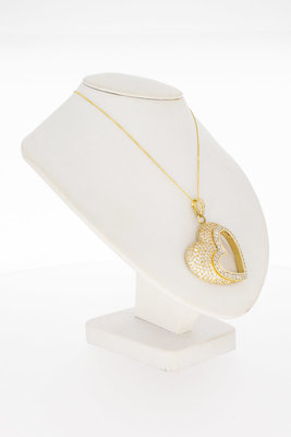 """14 Karaat gouden kettinghanger """"hart"""" gezet met Zirkonia"""