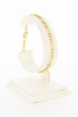 14 Karaat bicolor gouden Figaro schakelarmband - 19 cm