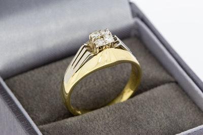 14 Karaat bicolor gouden Ring gezet met 4 Diamanten VERKOCHT
