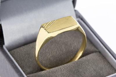 14 Karaat geel gouden Zegelring met bewerkt Zegelbed VERKOCHT