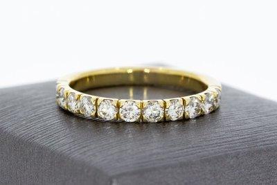 14 Karaat gouden aanschuifring gezet met Diamant-1.21 crt