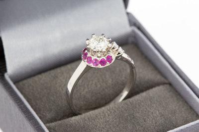 18 Karaat gouden Ring met Saffier en Diamant-0.69 crt