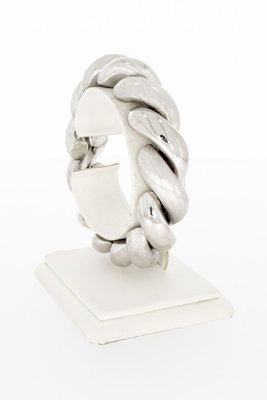 18 Karaat gouden getordeerde witte schakelarmband-20 cm