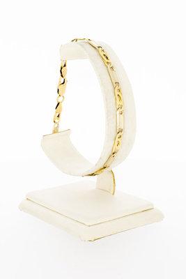 14 Karaat geel gouden Valkoog schakel armband - 21 cm