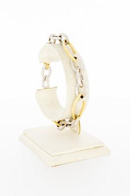 14 Karaat bicolor gouden fantasie schakelarmband-20,5 cm