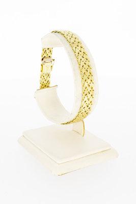 14 Karaat geel gouden gevlochten schakelarmband-19,4 cm