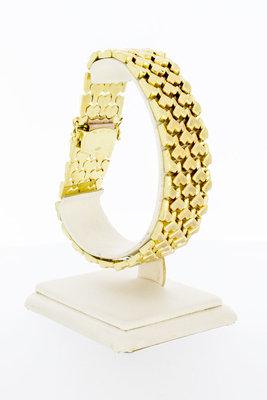 """14 Karaat geel gouden brede """"Y"""" schakelarmband - 21 cm"""