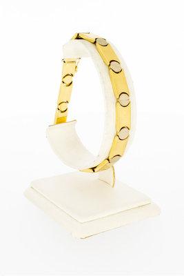 18 karaat bicolor gouden schakelarmband - 21,2 cm