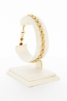 14 Karaat gouden Tennis armband met Zirkonia-19,5 cm