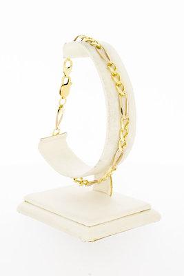 14 Karaat geel gouden Figaro schakelarmband - 22 cm VERKOCHT