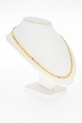 14 Karaat bicolor gouden combi Valkoog Collier - 47,8 cm