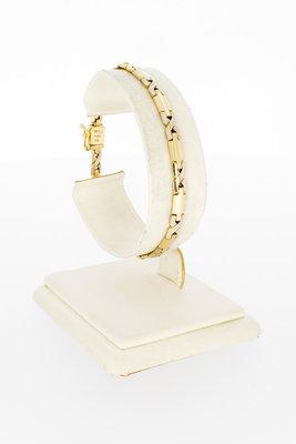 14 Karaat gouden fantasie Staafjes schakelarmband-18,5 cm