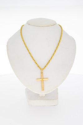 18 Karaat geel gouden - Kruisje-  kettinghanger