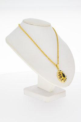 14 karaat gouden kettinghanger met Granaat (in facet)