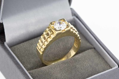 14 Karaat geel gouden Statement ring gezet met Topaas