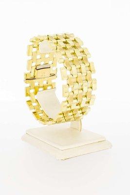 14 Karaat geel gouden brede Staafjes schakelarmband-20 cm