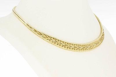 14 Karaat geel gouden gevlochten schakel Collier - 43 cm