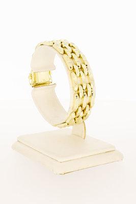 14 Karaat geel gouden brede Staafjes armband - 17 cm